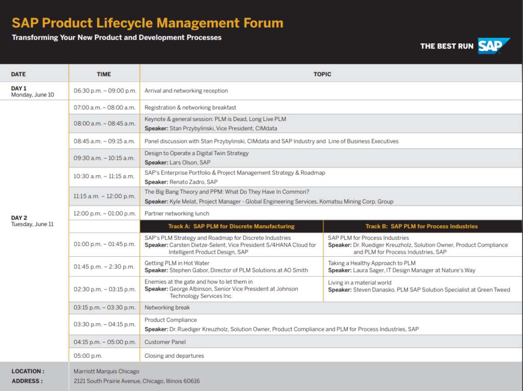 SAP-PLM-Forum-Agenda-1024x766 Join SEAL Systems at the SAP Product Lifecycle Management Forum June 10-11 in Chicago